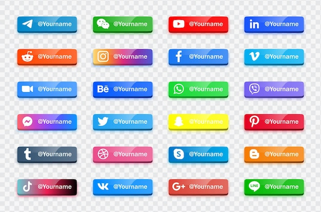 Modern social media icons logos - network platform banners