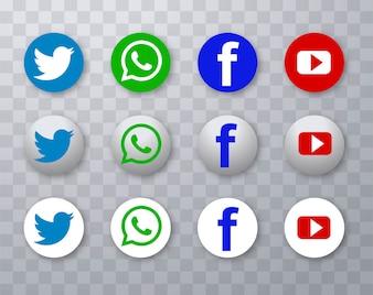 現代のソーシャルメディアアイコンのデザインを設定
