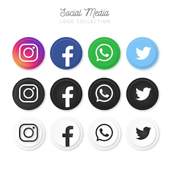 Modern social media logo collection