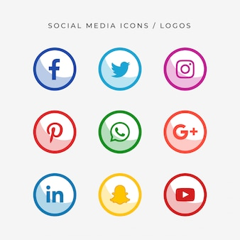 Modern social media logos and icons
