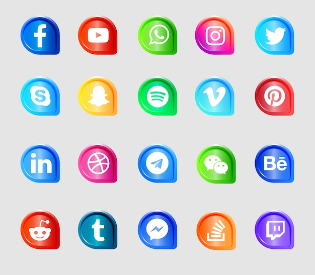 Modern social media logos and icons set