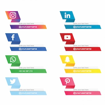 Modern social media lower third collection free .vector