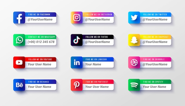 Modello di raccolta di icone del terzo inferiore dei social media moderni
