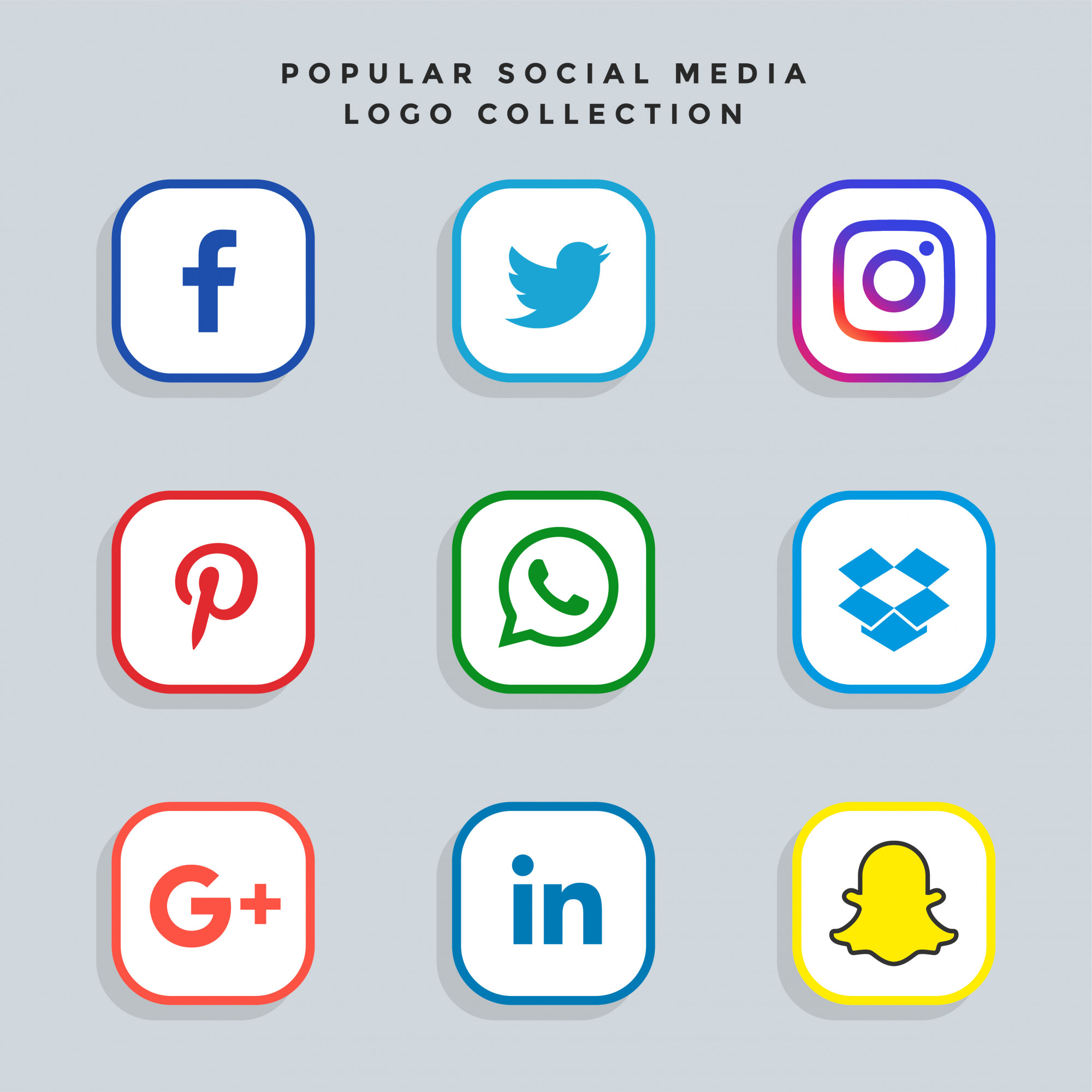 Modern social media network icons set