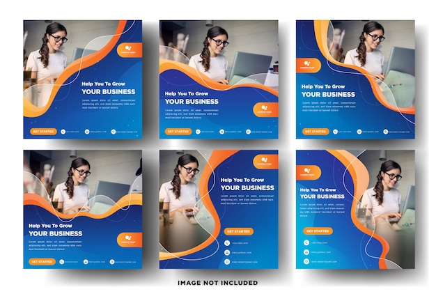 Modern social media post banner templates with gradient design for business