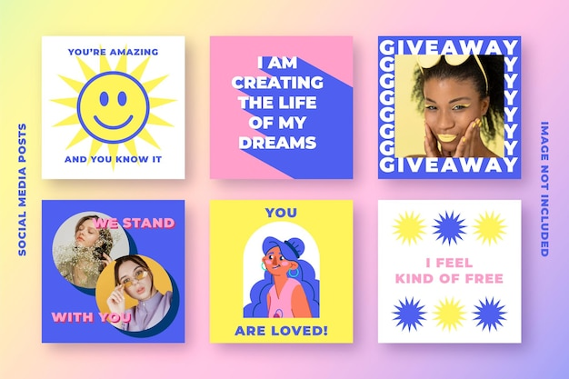 Современная коллекция постов в социальных сетях для instagram в кислотных тонах с мотивационными цитатами и женщинами