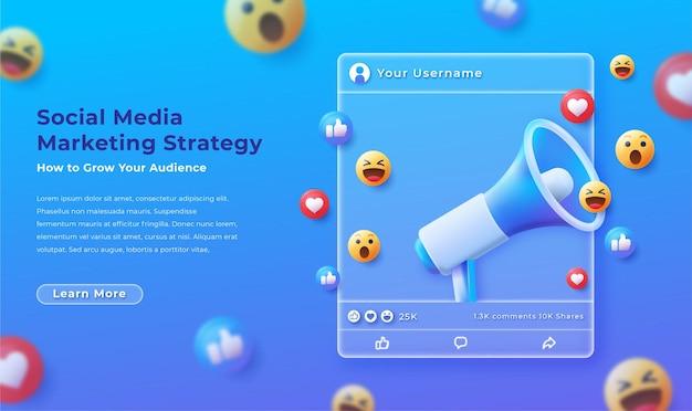 Modern social media post marketing illustration