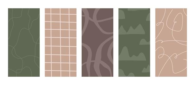 현대 소셜 미디어 스토리 레이아웃 템플릿, 추상 모양 및 유기 파스텔 핑크와 그린 색상의 선.