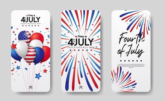 Modern social media stories set of american independence day, 4th july of usa.