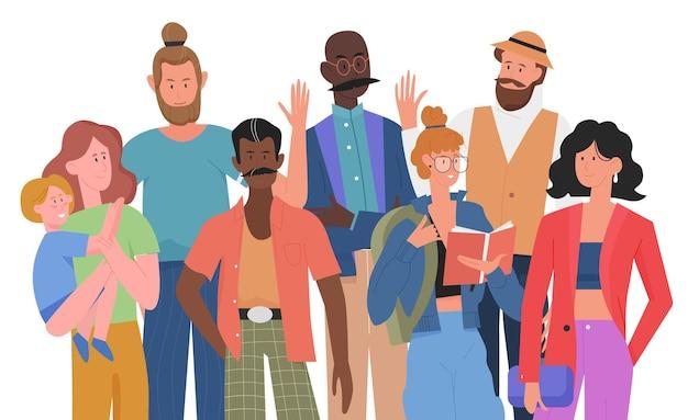 Концепция современного общества толпа людей мультикультурная международная группа мужчин и женщин
