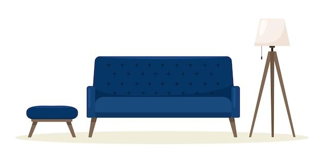 フロアランプ付きのモダンなソファ。
