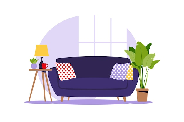 Modern sofa with mini table. interior of the living room with furniture. flat cartoon style. vector illustration.