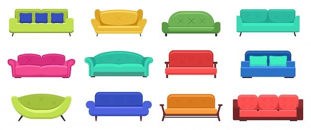 モダンなソファ。快適なモダンなアパートメントのソファ、居心地の良いソファ、ハウスソファの家具、国内のソファラウンジ。イラストセット。ソファとソファの家具、モダンで快適なイラスト