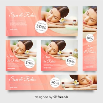 Modern spa banners with photo