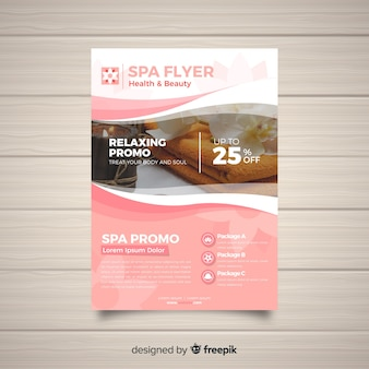 Modern spa flyer template with photo