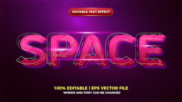 Modern space 3d editable text effect