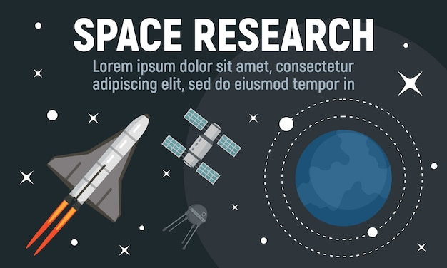 Modern space research banner, flat style