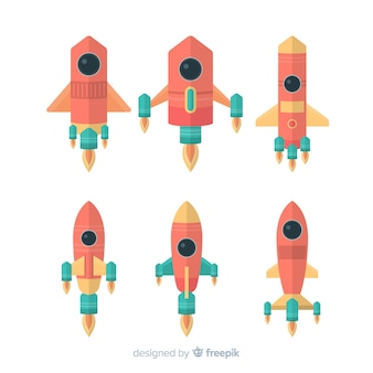 Modern space rocket collection with flat design