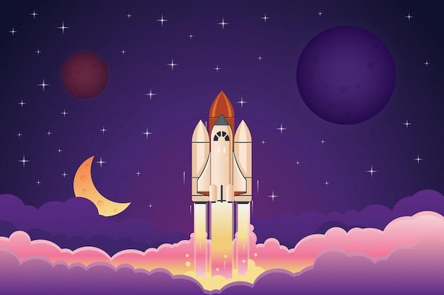 Современная космическая ракета взлетает над облаками