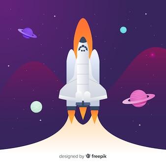 フラットデザインの現代宇宙ロケット