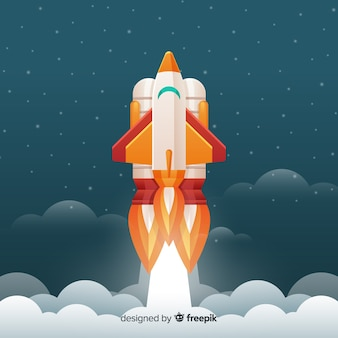 Modern space rocket with flat design