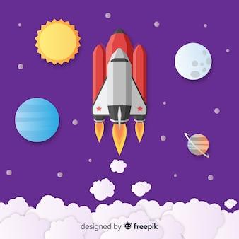 평면 디자인의 현대 우주 로켓