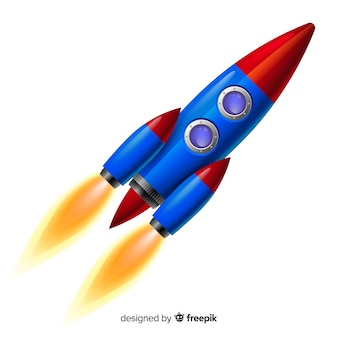 Modern space rocket with realistic design
