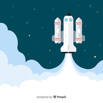 Modern spaceship background with flat deisgn