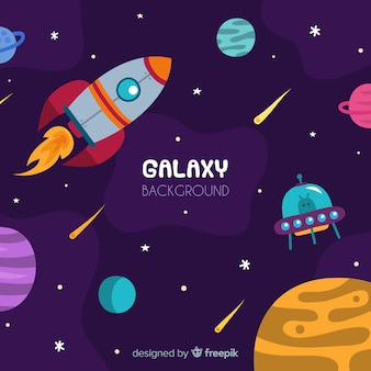 Modern spaceship background with flat deisgn