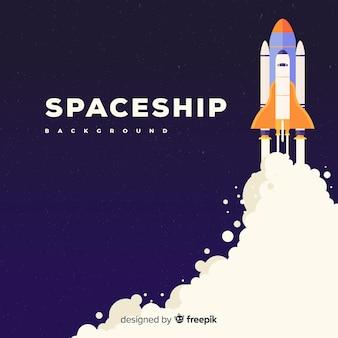 フラットデザインのモダンな宇宙船の背景