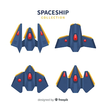 Modern spaceship collection with flat design