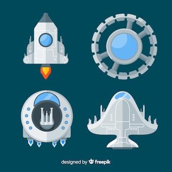 Современная коллекция космических кораблей с плоским дизайном