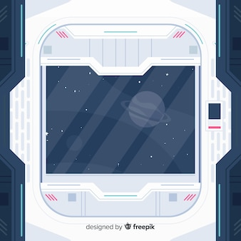 Modern spaceship interior background with flat design