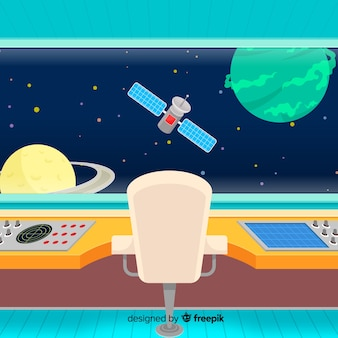 평면 디자인으로 현대 우주선 인테리어 배경