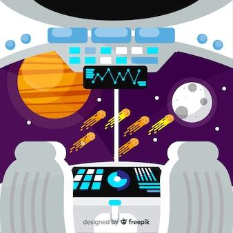 Modern spaceship interior background with flat design