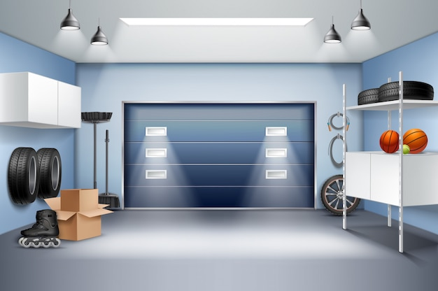 Modern spacious garage interior realistic composition with storage cabinets racks roller skates tires sliding door vector illustration