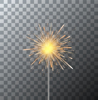 Modern sparkler on transparent background.