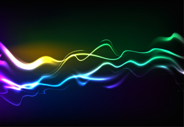 Modern speaking sound waves oscillating dark blue light