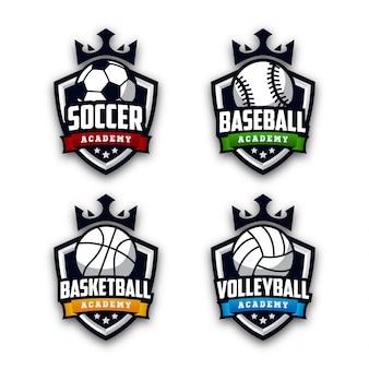 Modern sport academy logo set