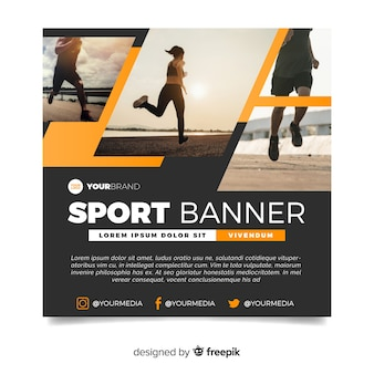 Modern sport banner with image