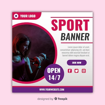 Modern sport banner with photo