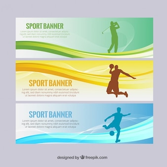 Modern sport banners with silhouettes and waves