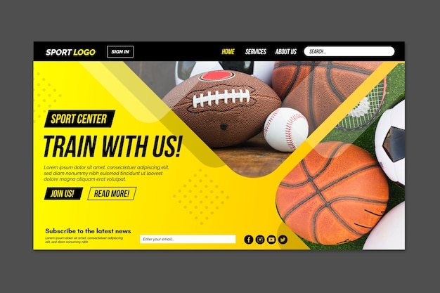 Modern sport landing page with photo