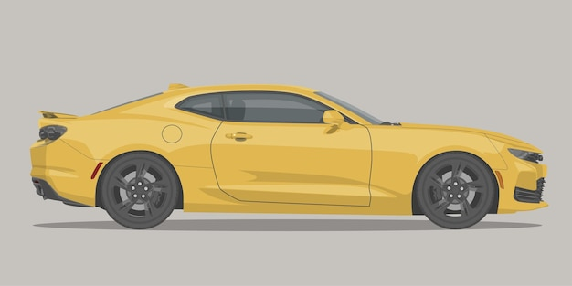 現代のスポーツマッスルカーの側面図