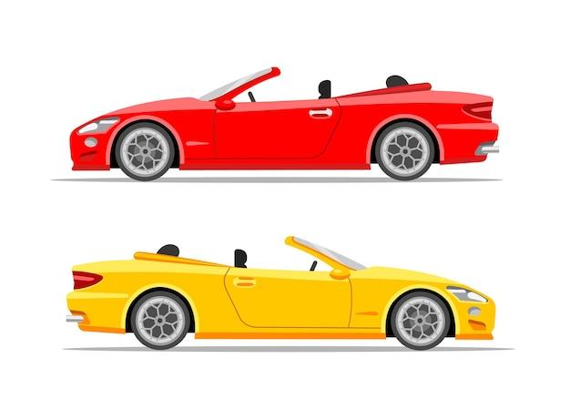 현대 스포츠카 쿠페 빨간색과 노란색 벡터 평면 그림