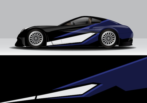 Modern sporty abstract race car wrap, decal sticker