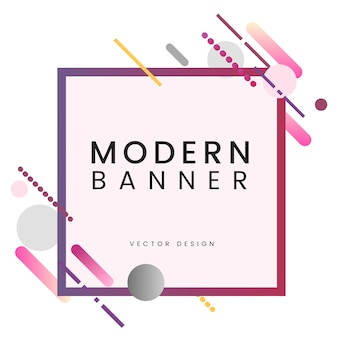 Modern square banner in colorful frame illustration