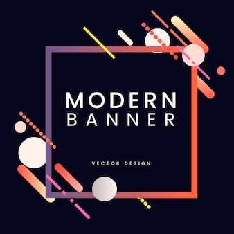 Modern square banner in colorful frame illustration
