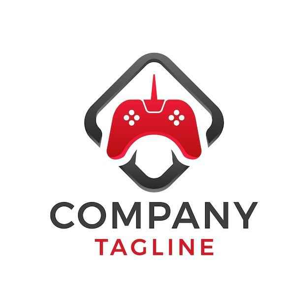 Современный квадратный жирный дизайн логотипа джойстика