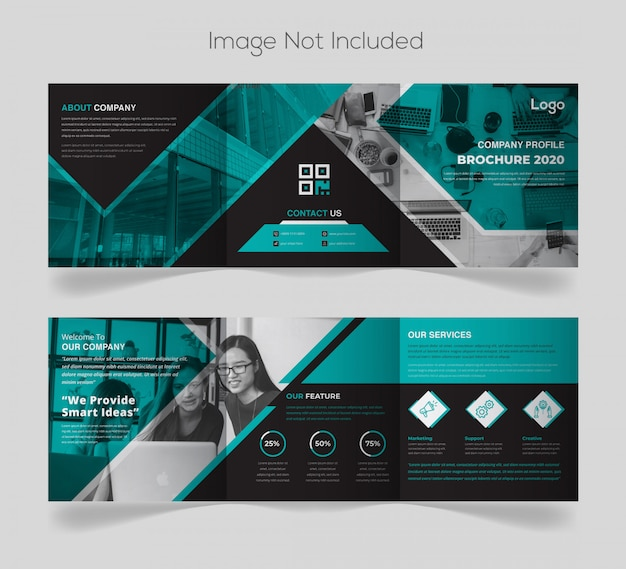 Modern square company brochure design template